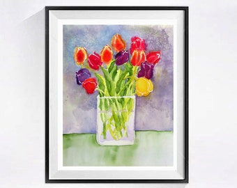 Abstract Art Print, Flowers, Floral wall art, office decor, Tulip flowers, watercolor painting, Botanical illustration, WatercolorByMuren