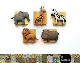Safari Animal Magnets [Fridge Magnets, Fridge Magnet Sets, Refrigerator Magnets, Magnet Sets, Office Decor, Kitchen Decor, Magnetic Board]