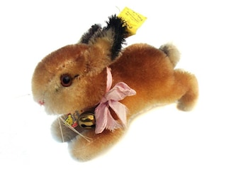 Rare Vintage Steiff Hoppy Rabbit Mohair Toy 1960s Bunny Hare Baby Hase Traditional Nursery Decor Gift Collectable Retro Label Button Easter