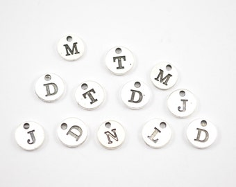 10MM Stamped Initial Charms - Letter Charms - Jewelry Supplier - Jewelry Making Supplies - Bracelet Charm - Necklace Charm - B4