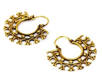 Tribal Hoop Earrings, Brass Earrings, Brass Hoop Earrings, Ethnic Earrings, Gypsy Earrings, Brass Hoops, Indian Earrings, Tribal Jewelry