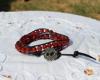 Carnelian Wrap Leather Bracelet, Gemstone Bracelet, Beaded Bracelet, Boho, Bohemian