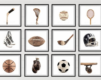 The Full Sports Collection On White Background, Set of 12 photo prints, Nursery Decor, Vintage Sports Decor, Sports Room, Sports Art