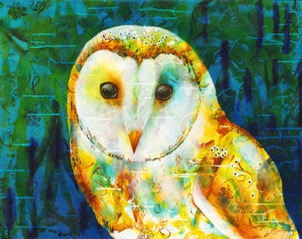Night Vision - Owl - Night - Night time - Barn owl - Bird - Conservation - Environmental art - Sky - Peaceful - Tranquil - Michelle Gilks
