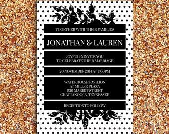 Bold, Fun, Modern, Black and White Wedding Invitation   DIY Printable Digital File