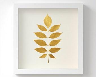 European Ash Leaf – Original Painting – Botanical Gold Art – Handmade in 6 Metallic Shades – Wall Art – Birthday Gift – 3 Sizes – Unframed
