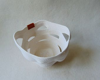 Art Bowl, Rope Cotton Basket, Naturl Cotton Bowl, Coiled Storage Bowl,  Eco Friendly Vegan Gifts