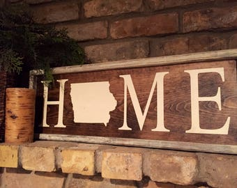 Iowa home sign. Rustic. Home decor. Framed. Hand painted.