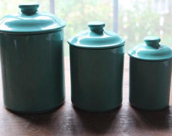 Vintage Mervyn's Stoneware Japan Teal 3 Piece Ceramic Kitchen Canister Set