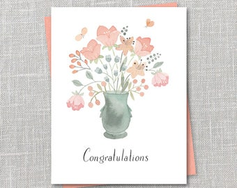 Congratulations Bouquet Notecard Instant Download PDF