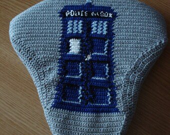 Doctor Who crochet bicycle seat cover