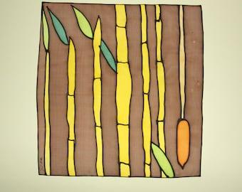 FREE SHIPPING Silk Painting - Original painting - Painting on silk - Handpainting - Decoration silk - 29 x 28 cm