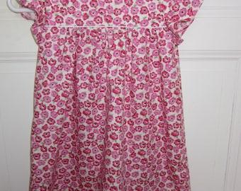 cotton pink flower girl dress