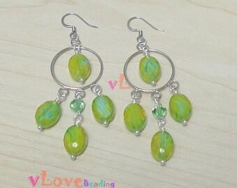 Green Faceted glass beads dangle earring. (V-83)