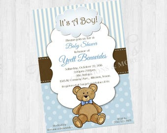 Baby Shower Invites; Teddy Bear; Boy Baby Shower