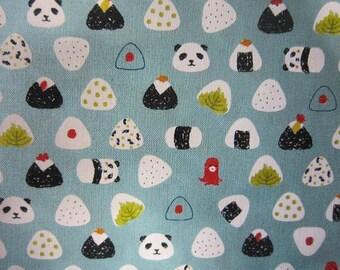 New!! Cotton sheeting onigiri omusubi 110x1m printed in Japan fabric kawaii panda light blue