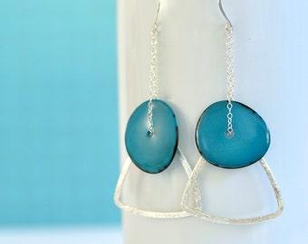 Tagua Earrings- Tagua Nut Earrings- Sterling Silver Earrings- Long Earrings- Geometric Earrings- Turquoise Blue Earrings- Triangle Earrings