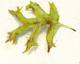 First Leaf of Fall Watercolour Print 4x6""