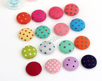 Mixed Color Fabric Flat Back, Fabric Buttons, Covered Buttons, Dot button