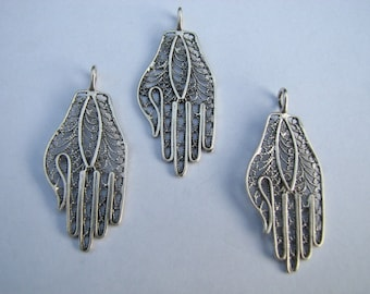 3 pcs Sterling Silver Filigree Hamsa Pendants
