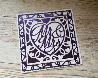 Handmade Mr & Mrs wedding card / Purple wedding card