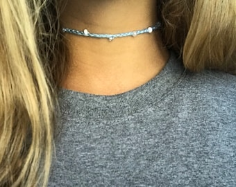 Blue crochet choker