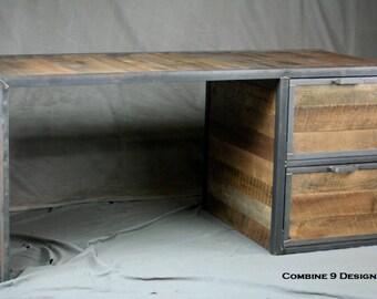 Reclaimed Wood Desk with File Cabinet Drawers. Reclaimed Wood and Steel Desk. Handmade Office Furniture. Vintage Modern. Rustic Industrial.