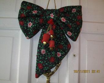 Handmade Country Christmas Door Decor Quilted fabric bow door hanger with wooden jinglebells