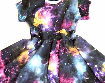 Toddlers and Girls Size UV Glow Galaxy Print Cap Sleeve Spandex Skater Dress  Sizes 2T 3T 4T and 5-12   151867
