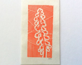 mini linocut - BELL TOWER // red-orange // printmaking // block print // flower print // small, miniature // hand-printed // original art