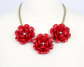 Large Rose Necklace Statement Necklace Beaded Rose Necklace Chunky Flower Necklace Collar Necklace Red Rosette Necklace