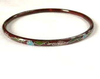 Asian cloisonné Burgundy metallic with a floral design bracelet
