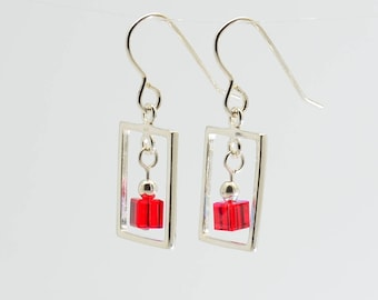 Ruby Red Swarovski Crystal Frame Earrings / Sterling silver frame and crystal dangle earrings / July birthstone earrings / Gift for her