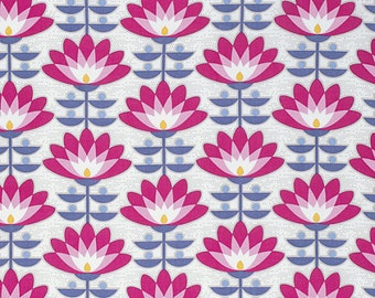 Atrium Fabric by Joel Dewberry Deco Bloom Vintage Fuchsia Pink Floral Flowers
