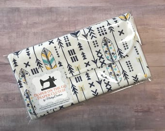 Arrows and Feathers Diaper Clutch with Changing Pad - Gender Neutral - Blue Yellow - Boho Baby - Bohemian - Baby Shower Gift - Boy Girl