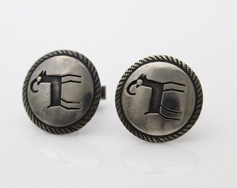 Authentic Antique Hopi Sterling Silver Tribal Overaly Animal Cufflinks. [817]