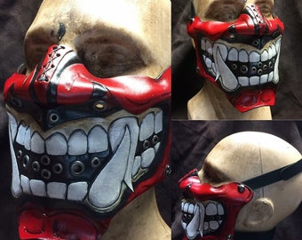 Red Leather Oni kabuki half mask with open mouth