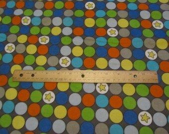 Multicolor Big Dot with Star Flannel Fabric by the Yard