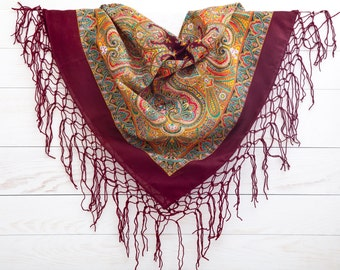 Summer Party, Burgundy shawl, Ukrainian shawl, Floral scarf, Gift for her, Bohemian Scarf, Cute Summer Scarf, Gifts for Women (057)
