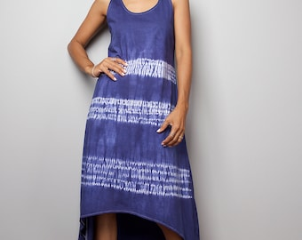 Summer Dress - Blue and White Halter Dress - Hand Dyed Dress : Tie Dye Collection (04010)