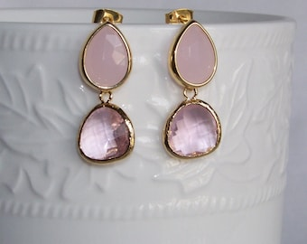 Pink Teardrop Earrings - Gift Ideas For Girlfriends - Rose Pink Earrings - For Wives - Bridesmaid Earring - Pink Mother of the Bride Earring