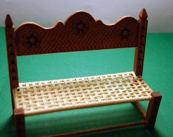 Wooden miniature handmade woodcarved sofa