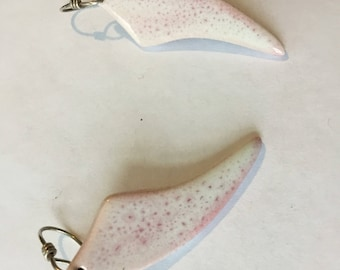 porcelain drop earrings with pink / white  gloss - glaze - sterling silver  hooks