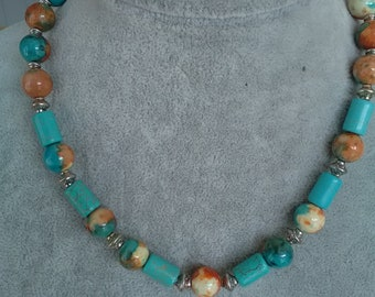 Torquise and peach bead necklace