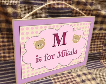 "Personalized Teddy Bear Faces Bears Name Kids Room Baby Nursery 7"" x 10.5"" SIGN Plaque Decor Customized Custom"