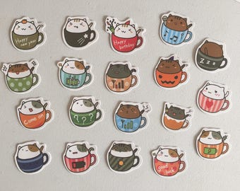 Cat In A Cup Planner Stickers, Kawaii Kitten Diary Stickers, Scrapbook Stickers, Planner Supplies, Reward Stickers, Card Embellishments
