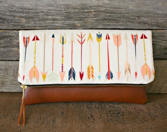 Arrows and Faux Leather Foldover Clutch / Kindle Case