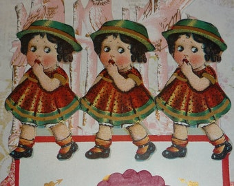NEW Listing**Identical Triplets In Green Hats With Fence and Pink Forget-Me-Nots Fold Down Tissue Honeycomb  Vintage 1920s Valentine Card