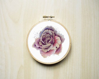 Watercolour Rose Flower Modern Counted Cross Stitch Pattern | Instant Download PDF