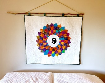Quilted Batik Wallhanging with White Back ground